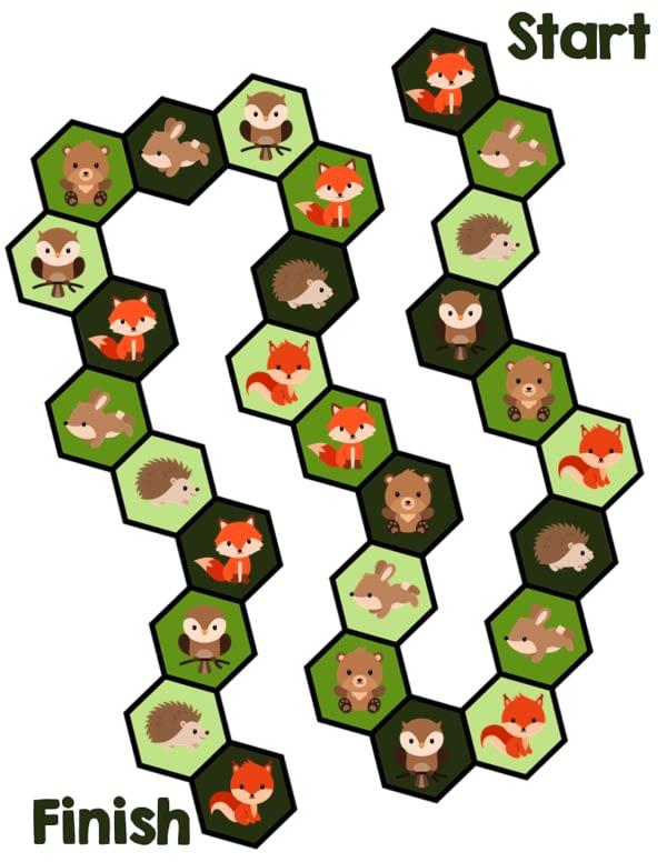Woodland Animals Printable Game for Kids